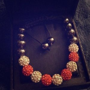 Jewelry - Hematite with crystal red and white bracelet